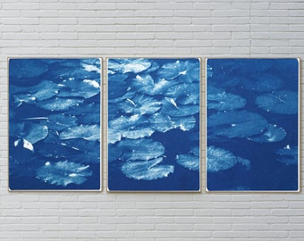 Floating Lilypad Pond / Handmade Cyanotype Triptych on Watercolor Paper