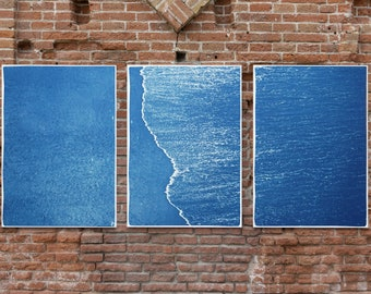 Calm Costa Rica Shore / Cyanotype Triptych on Watercolor Paper