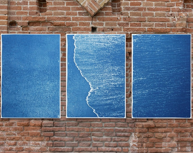 Featured listing image: Calm Costa Rica Shore / Cyanotype Triptych on Watercolor Paper
