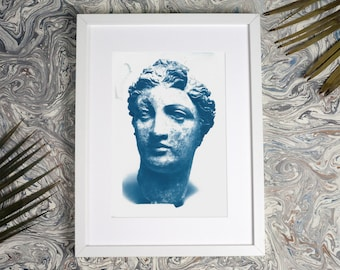 Terracotta Female Sculpture / Cyanotype on Watercolor Paper / Limited Edition / A4
