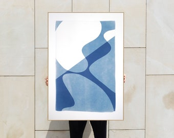 Minimal Blue Curves I / Monotype - Cyanotype on Watercolor Paper