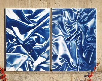 Late Night Adventurous Duo (of Silks) / 100x140 cm / Cyanotype on Watercolor Paper / Limited Edition of 20