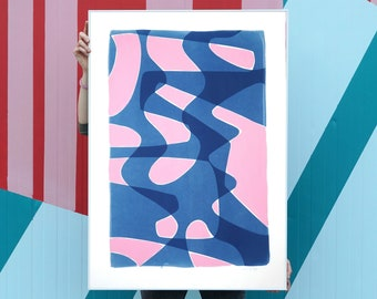 Pink and Blue Retro Shapes / Mixed-Media on Cyanotype / 2021