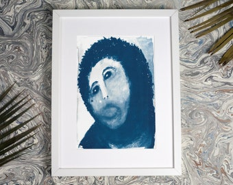 Ecce Homo, or Spanish Jesus Restoration / Cyanotype on Watercolor Paper / Limited Edition