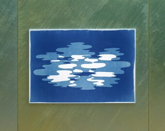 Artisan Monotype of Hazy Blue Smoke , Handmade Cyanotype on Watercolor Paper, Blue and White Tones, Neutral Print of Minimal Shapes, 2020
