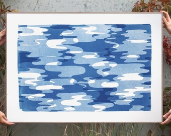 Contour Silhouettes in Blue Tones / Monotype - Cyanotype Watercolor Paper