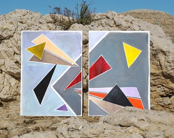Floating Retro Triangles / Large Acrylic Painting Diptych on Paper / 2021