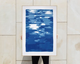 Vertical Geometric Water Reflections / Monotype-Cyanotype on Watercolor Paper