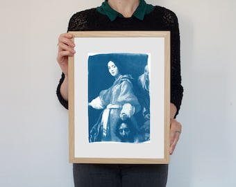 Painting Of Judith with the Head of Holofernes by Allori /  Cyanotype on Watercolor Paper / Limited Edition