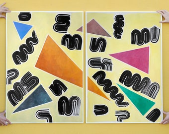 Primary Shapes and Colors on Light Yellow / Acrylic Painting on Paper / Diptych / 2021