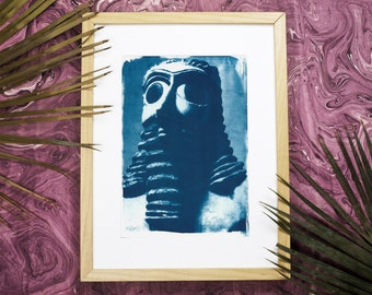 Sumerian Hollistic Sculpture / Cyanotype on Watercolour Paper / Limited Edition