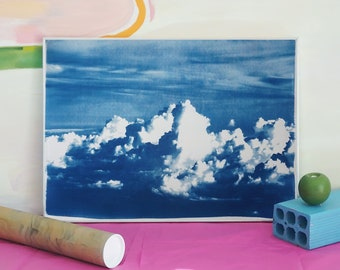 Blustery Clouds / Cyanotype Print on Watercolor Paper / 50 x 70 cm / Limited Edition