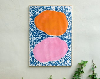 Pink and Orange Ovals on Clouds / Acrylic Paint and Cyanotype on Watercolor Paper / Monotype