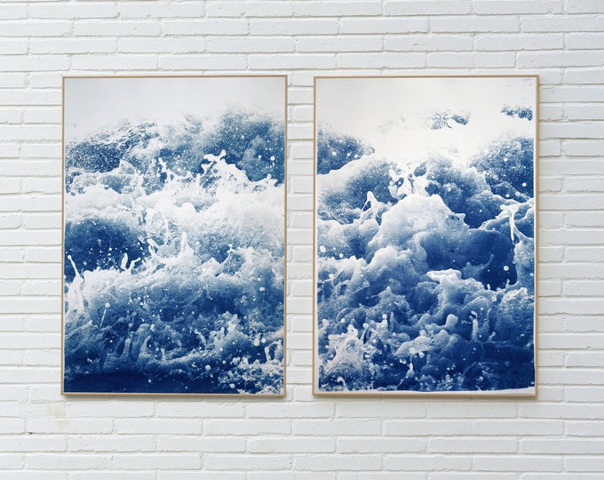 Tempestuous Tidal in Blue / Cyanotype Print on Watercolor Paper / 2020