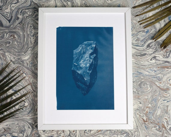 Low-Poly Rock / Cyanotype Print on Watercolor Paper / A4  / Limited Edition