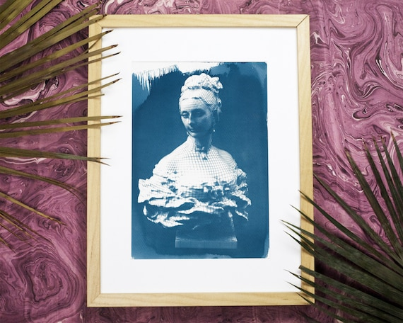 3d Render of Victorian Woman Bust Cyanotype Print on Watercolor Paper, Digital Art, Female Bust, Steampunk Decor, Gothic Bedroom, Boho Decor