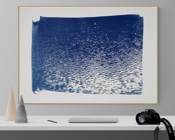 Blue Lake Ripples, Large Cyanotype Print on Watercolor Paper, Limited Edition