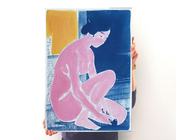 Woman After a Batch / Mixed Media Cyanotype on Watercolor Paper