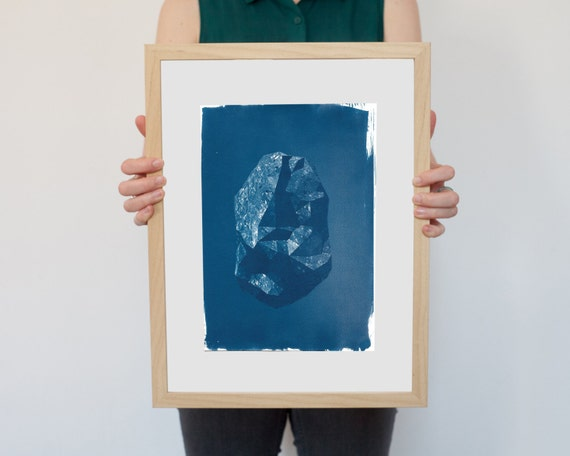 Low Poly Rock, Cyanotype Print, 3D Render, 3D Art, Rock Art, Geology, Rustic Decor, Mineral Art, Geometric Art, Boho Art Prints, Modern Home