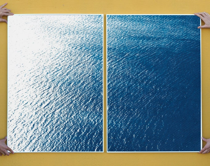 Smooth Bay in the Mediterranean / Classic Blue Diptych Cyanotype on Watercolor Paper / 100x140 cm