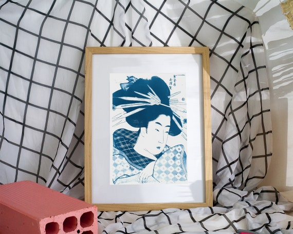 Geisha with Chopsticks in Hair, Japanese Art Cyanotype, Japanese Vintage Art, Ukiyoe, Kimono, Oriental Style, Zen Decor, Japan Lover, Asian