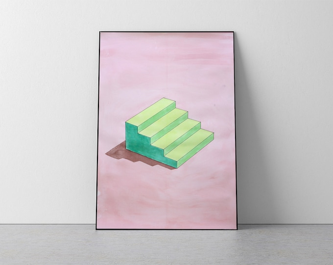 """Sol Lewitt Stairs"" by Ryan Rivadeneyra, 50x70cm"