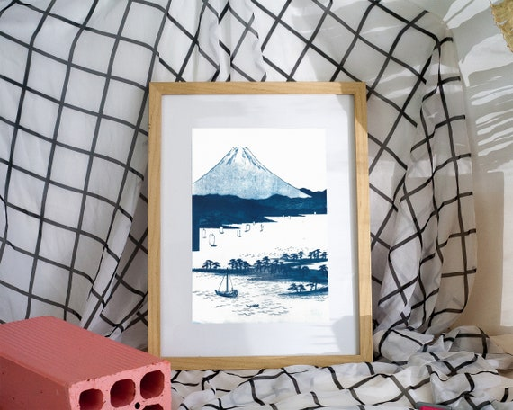 Mt. Fuji, Japanese Landscape, Cyanotype Print, Traditional Japanese Woodblock, Asian Decor, Oriental Home Decor, Ukiyoe, Asia Lover, Japan