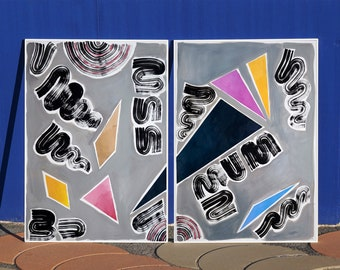 Nineties Triangles and Swirls / Acrylic Painting on Paper / Diptych / 2021