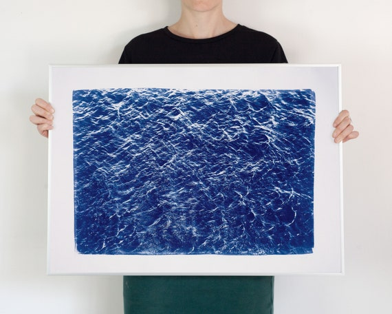 Pacific Ocean Currents / Cyanotype Print on Watercolor Paper / 50x70 cm / Limited Edition