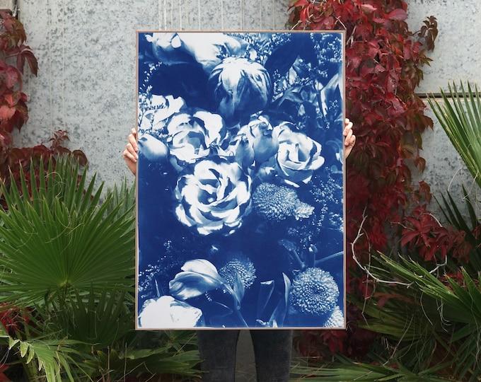 Blue Flowers Bouquet / Cyanotype on Watercolor Paper / 100x70 cm