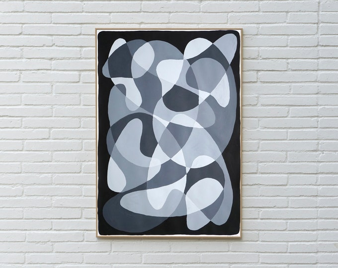 Black and White Curvy Flow / Acrylic Painting on Paper / 2021