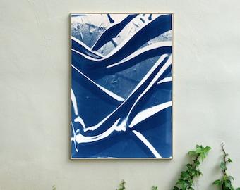 Classic Blue Silk Movement / Cyanotype on Watercolor Paper / 100x70cm