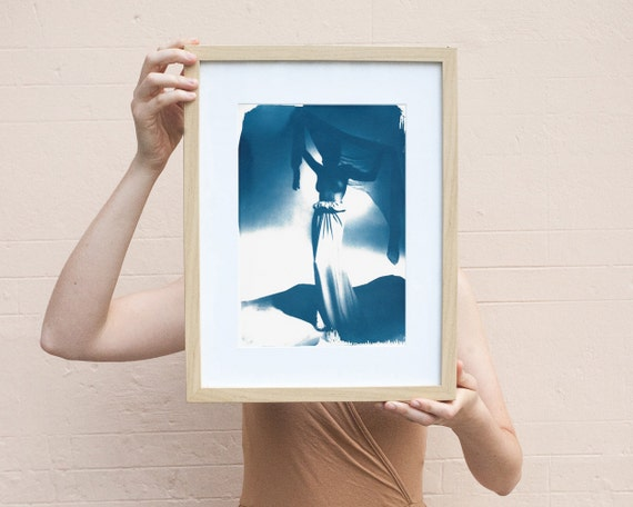 Fashion Photograph of Girl with Veil from Mid-Century, Cyanotype, Haute Couture, Fashion Decor, Vintage Fashion, Vintage Decor, 50's Fashion