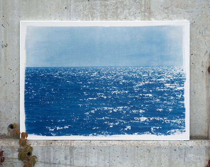 Day Time Seascape in Blue / Cyanotype on Watercolor Paper / Limited Edition / 2020