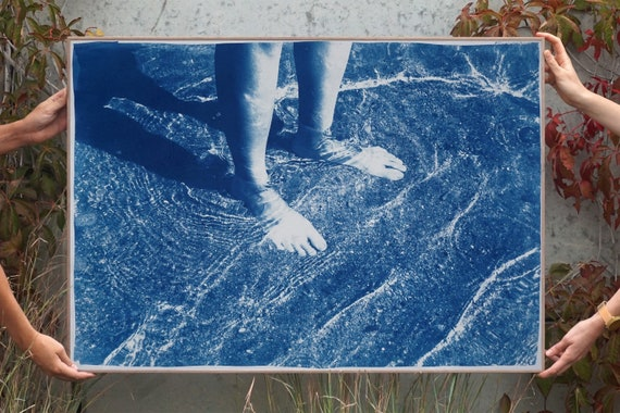"""""""Greek Beach Bliss""""/ Cyanotype on Watercolor Paper/ 100x70cm / Limited Edition"""
