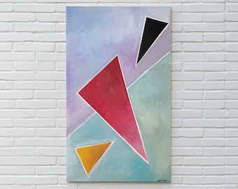 Diagonal Triangle Dream / Abstract Geometric Painting on Canvas / 2021