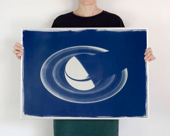 Planet Saturn with Rings, Large Cyanotype Print on Watercolor Paper (Limited Edition)