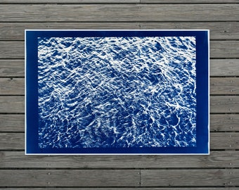 Pacific Ocean Currents / 28x40 in. / Cyanotype on Watercolor Paper / Limited Edition