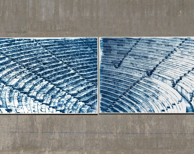 Diptych of Ancient Theatres / Cyanotype Print on Watercolor Paper / Limited Edition