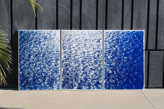 "Triptych ""French Riviera Cove"" / Cyanotype on Watercolor Paper / Limited Edition / 100 x 210 cm"