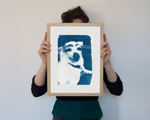 Meme Art, Dog with Eyebrows, Cyanotype Print, Dog Lover Gift, Funny Print, Boyfriend Gift, Sister Gift Funny, Meme Gifts, Funny Art Print