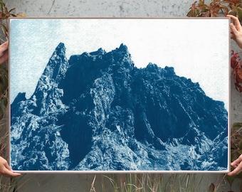 Rocky Desert Mountain / Cyanotype Print on Watercolor Paper / 2020