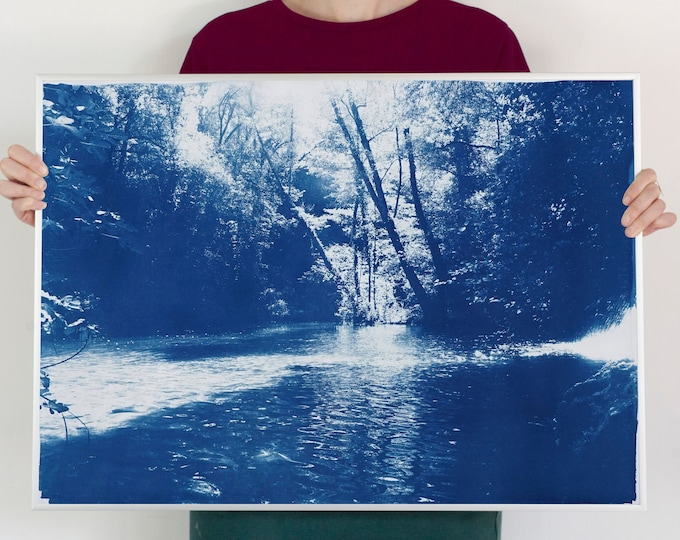 """Original Cyanotype of """"Scandinavian Enchanted Forest"""" on Watercolor Paper / 50x70cm / Limited Edition"""