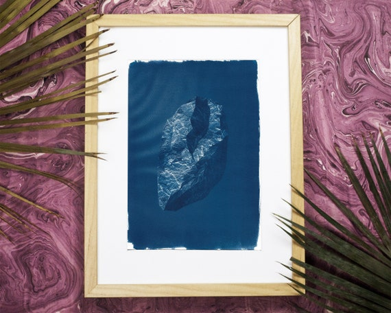 3D Low-Poly Rock, Cyanotype Print on Watercolor Paper, 3D render, Digital Rock, Designer Gift, Affordable Art, Design Store, Boho bedroom