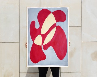Original Painting of Red Lipstick Burst, Mid-Century Translucent Shapes, Warm Tones Overlapping Forms in Red and Gray, Acrylic on Paper 2021