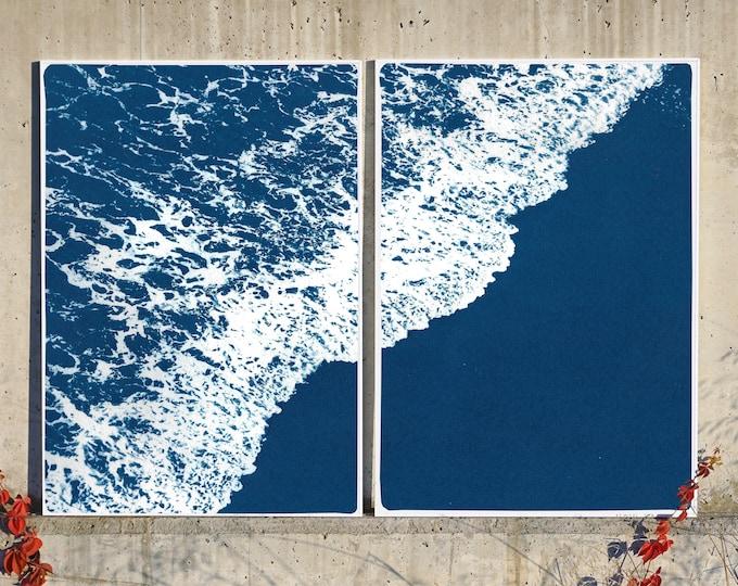 Deep Blue Sandy Shore / Cyanotype Diptych on Watercolor Paper / 2020