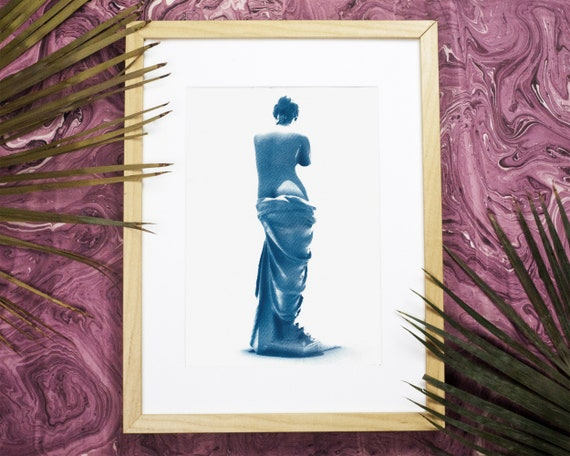 Venus de Milo Greek Sculpture, Ancient Greece, Classic Sculpture, Cyanotype Print Classic Decor Famous Greek Art Handmade Print Greek Venus