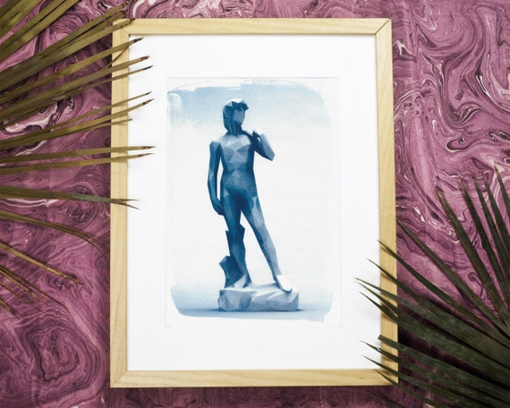 Michelangelo's David Low-Poly Sculpture, Cyanotype, Renaissance Art, Italian Art, Boho Bedroom, Gift for Gay Man, Erotic Art Print Digital