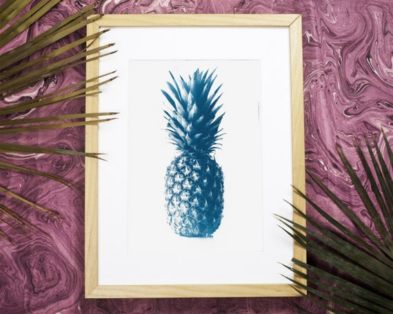 Pineapple Cyanotype Print on Watercolor Paper