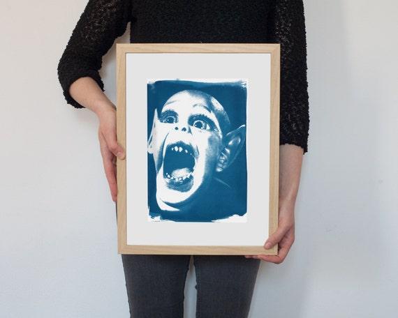 Bat Boy Meme, Cyanotype Print, National Enquirer, Weekly World News, Vintage News, Vampire Art, Gothic Decor, Film Buff Gift, Meme Art Print